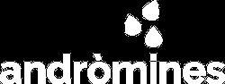 Nuevo logo de Andròmines en blanco
